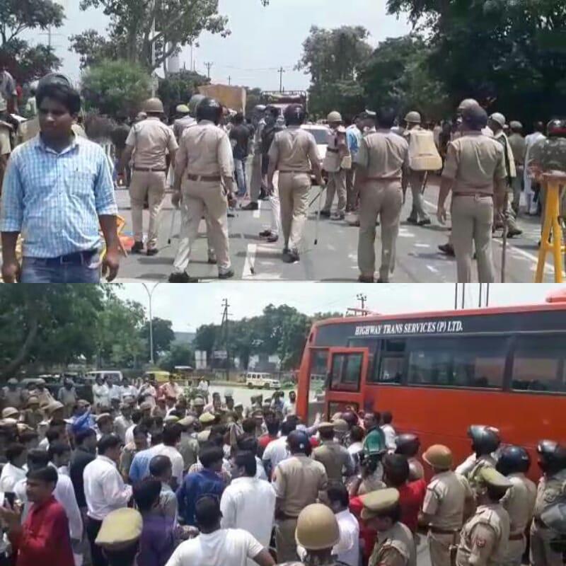 सैमसंग कम्पनी में रोजगार न मिलने पर ग्रामीणों का प्रदर्शन, पुलिस ने दर्जनों को हिरासत में लिया |
