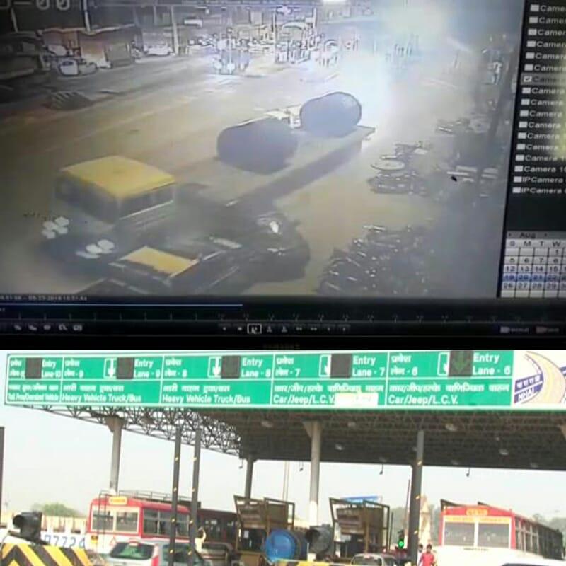 टोल प्लाजा के बेरिकेट को तोड़ एक तेज रफ्तार ट्रोले ने पाँच गाड़ियों को टक्कर मार हुआ फरार,पूरी वारदात सीसीटीवी में कैद |