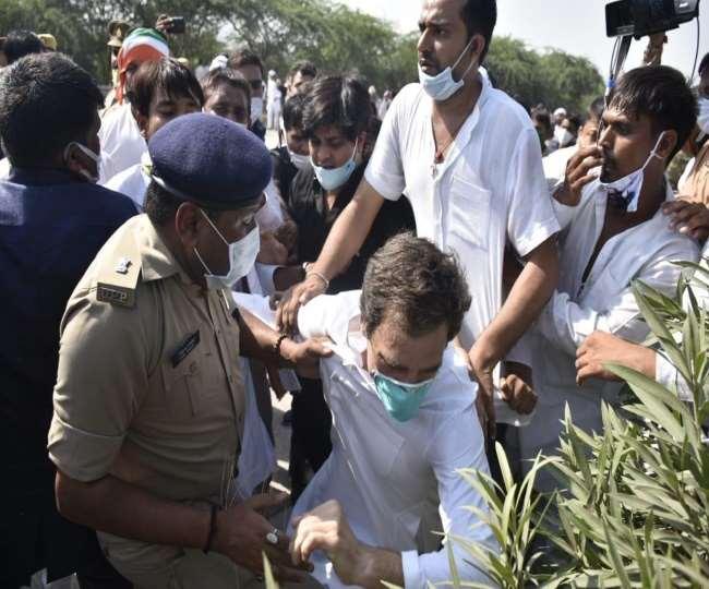 हाई वोल्टेज ड्रामा: कार्यकर्ताओं पर लाठीचार्ज, धक्का-मुक्की के दौरान गिरे राहुल गांधी...